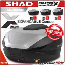 SHAD SH59X MOTO TOP-CASE VALISE EXTENSIBLE 46 > 58 LTR + COVER ALUMINIUM PLATINE