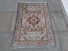 Vintage Hand Made Traditional Oriental Wool Silk White Pink Small Rug 133x95cm