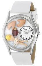 Whimsical Massage Therapist White Leather and Silvertone Unisex Watch