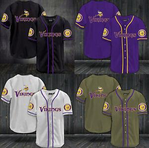 Minnesota Vikings Mens Baseball Shirts Football Button Down Tee Tops Uniforms