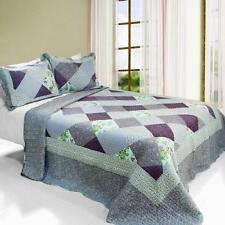 3 Pc Purple Memory lavender diamonds flowers 100% Cotton Queen Quilt Shams