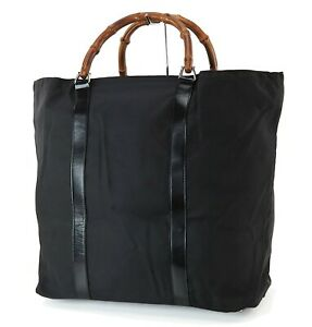 Authentic GUCCI Black Nylon Bamboo Handle Large Tote Bag Purse #25021A
