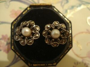 Beautiful Vintage Art Deco: Genuine Pearls & Marcasites Sterling Silver Earrings