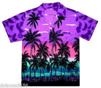 Mens Mauve Palm Hawaiian Shirt short sleeves v neck great for STAG PARTY  M-XXL