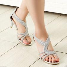 SheSole Womens Low Heel Strappy Sandals Rhinestone Wedding Shoes Silver Gold