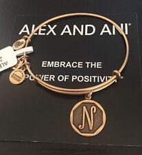"Alex and Ani Initial ""N"" Charm Bangle Bracelet Russian Gold Nwt"
