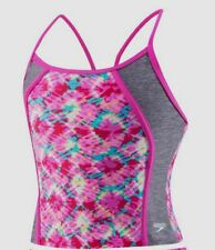 $79 Speedo Girls' Pink Gray Printed Splice Crisscross Back Tankini Swimwear 12