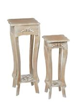 LIMED OAK SHABBY CHIC FRENCH COUNTRY NEST OF 2 LAMP SIDE PLANT COFFEE TABLES