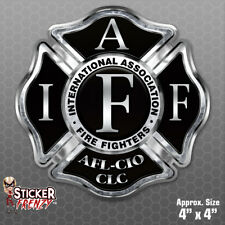 "Firefighter ""IAFF BLACK CROSS"" Sticker - Vinyl Decal Window Fire DEPT #FS2059"