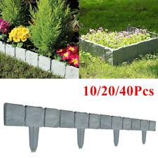 10 40 Plastic Dark Grey Stone Effect Garden Lawn Edging Palisade Plant Border UK