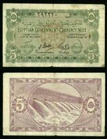 Egypt Law of 1940 Banknote Five Piastres Pick Number 163 A. Badawi Fine Currency