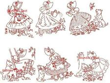 Embroidery Transfer R 2372 Gay Little Ladies Sunbonnet & Scottie dogs for Towels