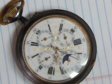 Vintage Goliath Pocket Watch, runing, month/day/24hr/Moon fancy dial
