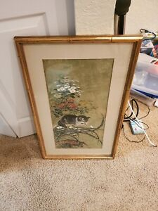 Hui Chi Mau Signed Original Chinese Watercolor Painting Flowers CAT  Framed
