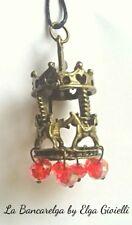 Ciondolo ottone giostra carosello con cristalli rossi. Carousel horse necklace