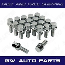 "20 Chrome 14x1.5 Ball Seat Lug Bolts 28mm 1.11"" Shank Fit Volksage Volvo Prosche"