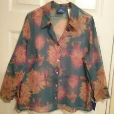NWT JH Collectibles Women's Green Floral Sheer Blouse Size 16