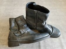 Size 6 (39) grey faux leather buckle strap zip up block heel ankle boots