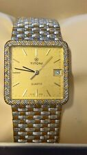Beautiful Vintage TITONI Roll GOLD  QUARTZ One of Kinds MEN'S  w/ DAY WATCH