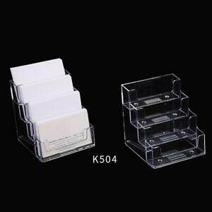 Plastic Clear Desktop Business Card Holder Stand Display Office Dispenser s L4X9