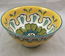 Anthropologie Dish Bowl Yellow Blue Green Microwave Safe Small Cereal Fruit Boho
