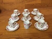 Antique Japan 2120 (LEFTON) Demitasse Cup & Saucer Set (8 Sets) Hand Painted