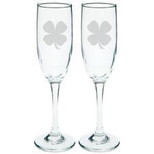 Shamrock Etched Champagne Glass Set