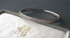 """STERLING SILVER CUBIC ZIRCONIA PAVE FRONT BANGLE 7"""" SOLID 925"""