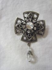 Pin Brooch Silver Metal Brand New Cross Crystals Dangling Bead Fancy Fashion