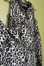 NWT Adrianna Papell Leopard Cheetah Print Long Tunic Top Swim Cover Up Dress 6