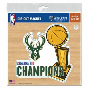 "MILWAUKEE BUCKS 2021 NBA CHAMPIONS 6""X6"" DIE-CUT MAGNET INDOOR OUTDOOR USE"