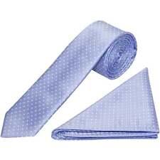 Light Blue and White Polka Dot Skinny Mens Tie Handkerchief Set Wedding Prom Tie