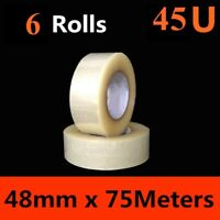 6 x HD Packing Tape Packaging Clear Sticky Sealing Tape 48mm 75M transparent