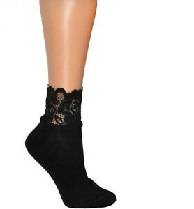 """Girls Womens  Plain Cotton Lace Top  Ankle Socks """"Milena"""" - one size"""