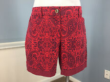 Lands' End Red Blue Paisley medallion WOmen's Short 10 Mid Rise Excellent