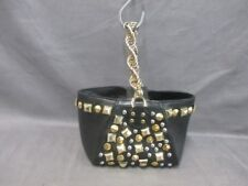 Auth H&M VERSACE Black Gold Silver Leather Handbag