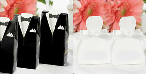 25 Black Tux or White Wedding Gown Favor Boxes Wedding Favor Boxes