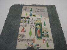 Vintage Greeting Card Christmas Sangamon Small Town Caroling People Snow Covered