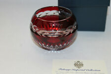 Faberge Red Cut to Clear Glass Candle Votive W/ Box Excellent!
