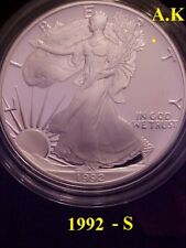 1992-S  Proof American Silver Eagle with Box & COA