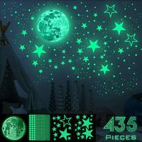 Luminous Moon Star Dot 3D Wall Sticker Creative Fluorescent Removable DIY Decor