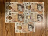 5 X 10 Is Total Of 50 POUNDS Sterling, Banknotes, British, 5 Notes Of 10.