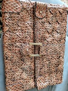 Jessica Simpson Clutch Purse. Braided faux animal design. Large brown.