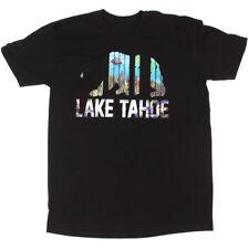 LAKE TAHOE Vacation Travel Landscape Graphic Black Men's T-Shirt Tee size L 1157