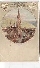 Jahrhundertwende-AK Litho Münster Freiburg + Werbung  Junker & RUH kARLSRUHE