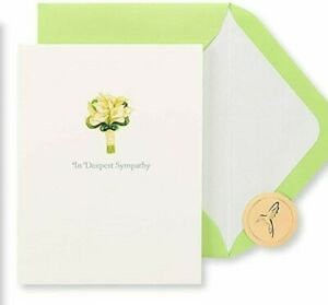 Papyrus Sympathy card- Beautiful White Lilies with Glitter, Silver Embossing