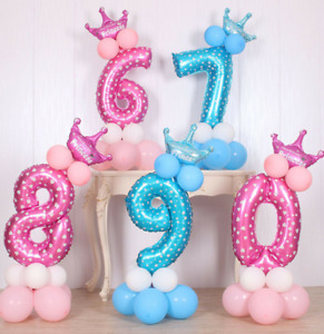 """16"""" Digit Numbers Foil Balloons Boy Girl Baby Shower Birthday Party Decor uk"""