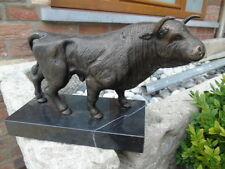 taureau en fonte patinée bronze sur marbre , statue , nouveau !!!