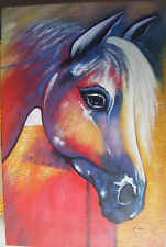 "COLOURFUL HORSE ABSTRACT ART OIL PAINTING 24X36"" STRETCHED"