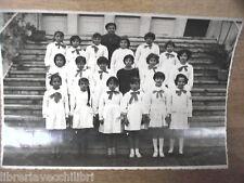 Vecchia foto bn di scolaresca SALERNO scuola elementare maestra con alunne dell